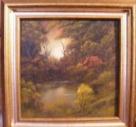 Picturi cu peisaje In padure la apus