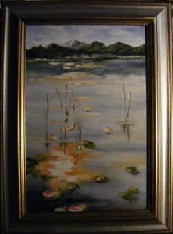 Picturi cu peisaje Lacul in amurg