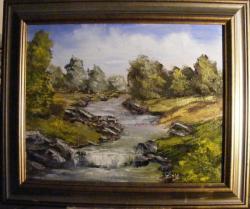 Picturi cu peisaje Rau serpuind in lunca