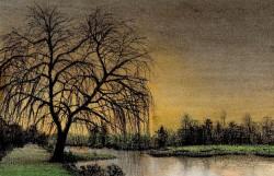 Picturi cu peisaje Apus pe balta