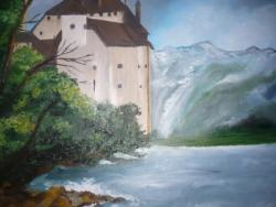 Picturi cu peisaje Castel pe malul lacului