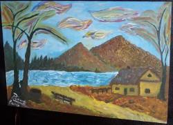 Picturi cu peisaje Raul din munte