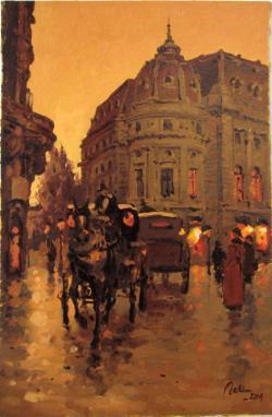 Picturi cu peisaje cu trasura prin piata palatului