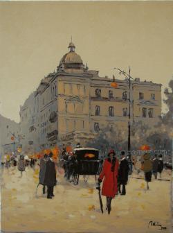 Picturi cu peisaje Hotel Bulevard, vechiul Bucuresti