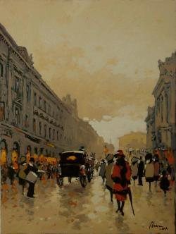 Picturi cu peisaje Pe Lipscaniul vechiului Bucuresti