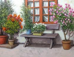 Picturi cu peisaje exterior cu soare si flori E.S. 2017