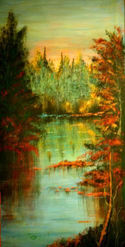 Picturi cu peisaje Rasarit de soare,intre brazi