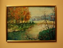 Picturi cu peisaje Toamna pe malul raului 1, inramat