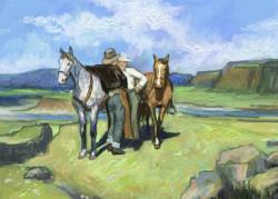 Picturi cu peisaje doi cawboy stand de vorba