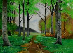 Picturi cu peisaje o zi de primavara in padure