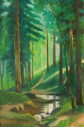 Picturi cu peisaje Padure de conifere