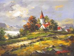 Picturi cu peisaje Satul din deal