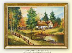 Picturi cu peisaje Peisaj cu iaz si case țărănesti