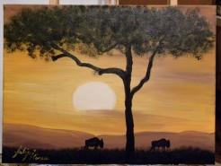 Picturi cu peisaje Apus,copac si doi bizoni