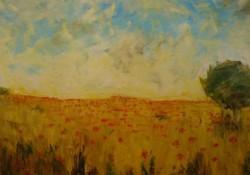 Picturi cu peisaje Lan de grau cu maci