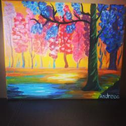 Picturi cu peisaje Copacei