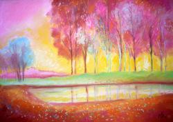 Picturi cu peisaje Trees Reflexion 1