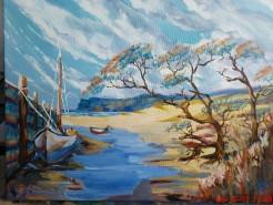 Picturi cu peisaje Boat on shore