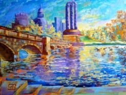Picturi cu peisaje Sunrize in carol park - bucharest romania - final painting  - oil on paper canvas - 28 x 38 cm - may