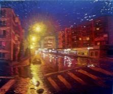 Picturi cu peisaje Noapte ploioasa in cartierul trivale