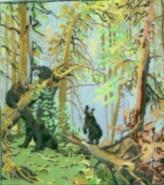 Picturi cu peisaje Familia de ursi