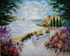 Picturi cu peisaje Terasa de la malul marii