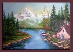 Picturi cu peisaje Cabana langa lac