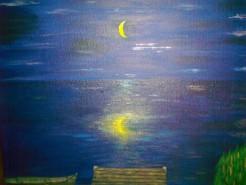 Picturi cu peisaje Noaptea,pe lac