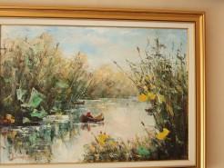 Picturi cu peisaje Pe canal cu barca