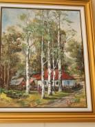 Picturi cu peisaje Satul dintre mesteceni