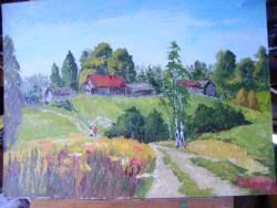 Picturi cu peisaje Case pe deal