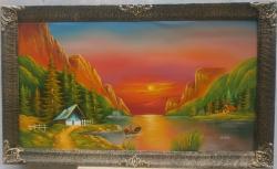 Picturi cu peisaje apus lac