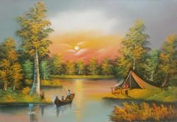 Picturi cu peisaje Apus pe lac