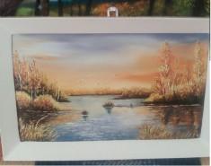 Picturi cu peisaje Apus in delta