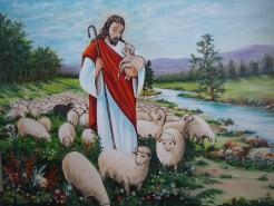 Picturi cu peisaje Iisus cu oile