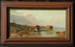 Picturi cu peisaje peisaj cu vaci