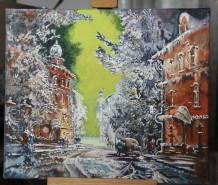 Picturi acuarela Noapte de iarna