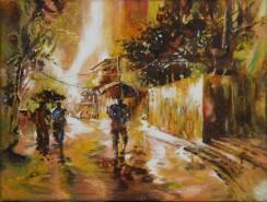 Picturi cu peisaje Prin ploaie