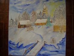 Picturi cu peisaje Iarna albastra