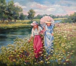 Picturi cu peisaje Printre flori 01
