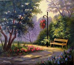 Picturi cu peisaje Vara in parc