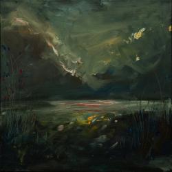 Picturi cu peisaje Seara pe lac