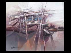 Picturi cu peisaje Delta cu barci sfarsit de toamna
