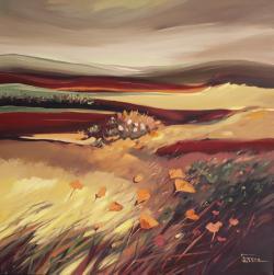 Picturi cu peisaje Campuri aurii in lumina blanda a serii