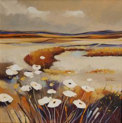 Picturi cu peisaje Ploaie de alb in campuri aurii