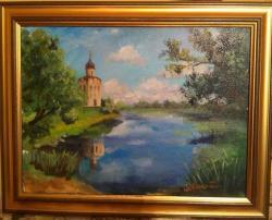 Picturi cu peisaje Biserica de pe malul lacului