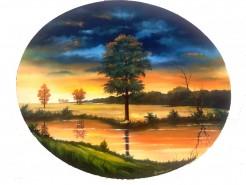 Picturi cu peisaje Apus de soare 2 oval