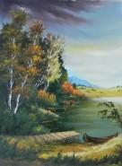 Picturi cu peisaje Barca la ponton