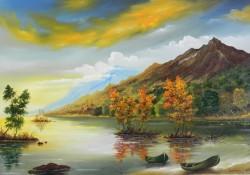 Picturi cu peisaje Barci pe lac de munte