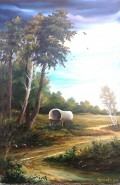 Picturi cu peisaje Caruta in padure